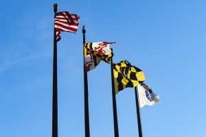 Maryland flags on poles