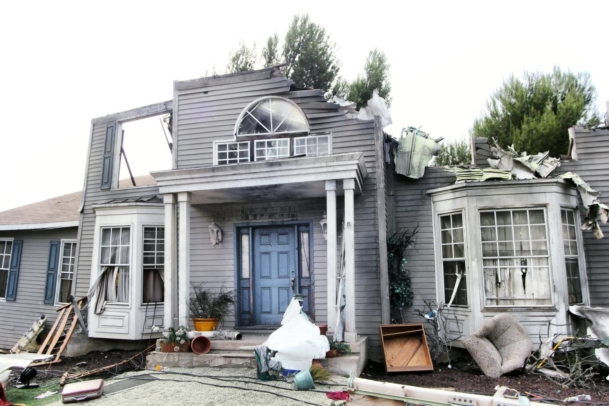 House damaged by disaster.