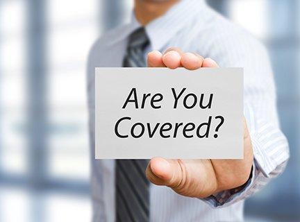 business man holding paper board with insurance concept