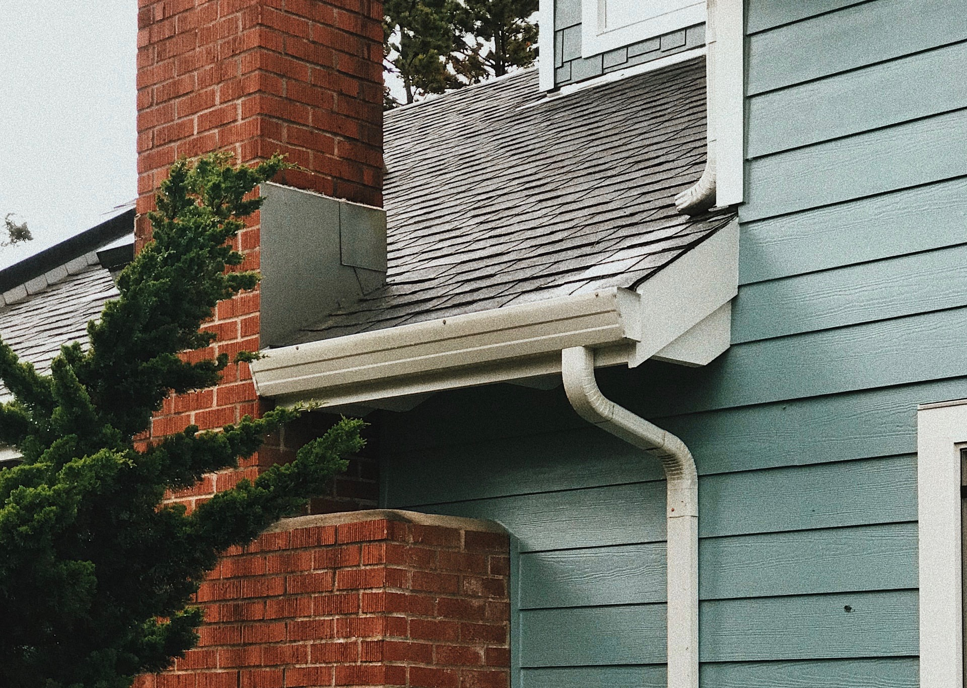 gutters and downspout on a house